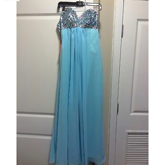 Dream Prom Dresses | Dress 34 Bust Light Blue Bling Dress | Poshmark